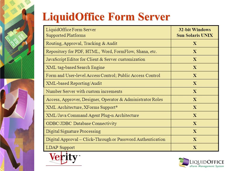 LiquidOffice Form Server LiquidOffice Form Server Supported Platforms 32-bit Windows Sun Solaris UNIX Routing, Approval, Tracking & AuditX Repository