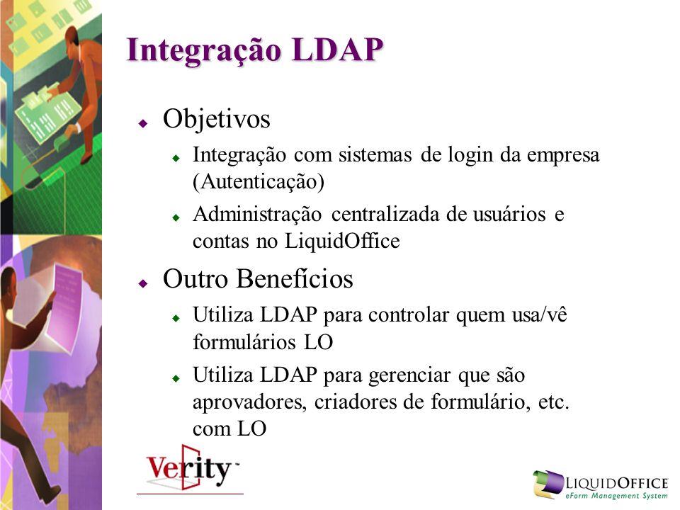 Integração LDAP Objetivos Integração com sistemas de login da empresa (Autenticação) Administração centralizada de usuários e contas no LiquidOffice O