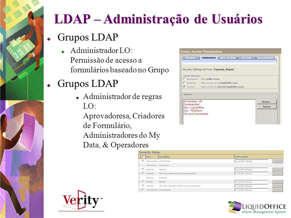 LDAP – Administração de Usuários Grupos LDAP Administrador LO: Permissão de acesso a formulários baseado no Grupo Grupos LDAP Administrador de regras
