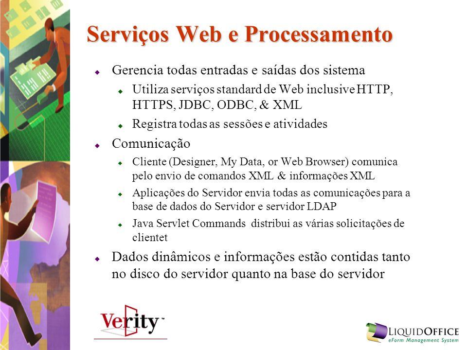 Serviços Web e Processamento Gerencia todas entradas e saídas dos sistema Utiliza serviços standard de Web inclusive HTTP, HTTPS, JDBC, ODBC, & XML Re