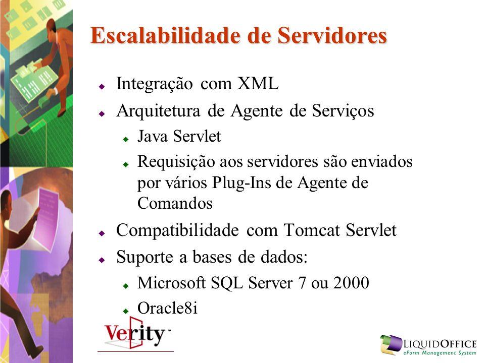Escalabilidade de Servidores Integração com XML Arquitetura de Agente de Serviços Java Servlet Requisição aos servidores são enviados por vários Plug-