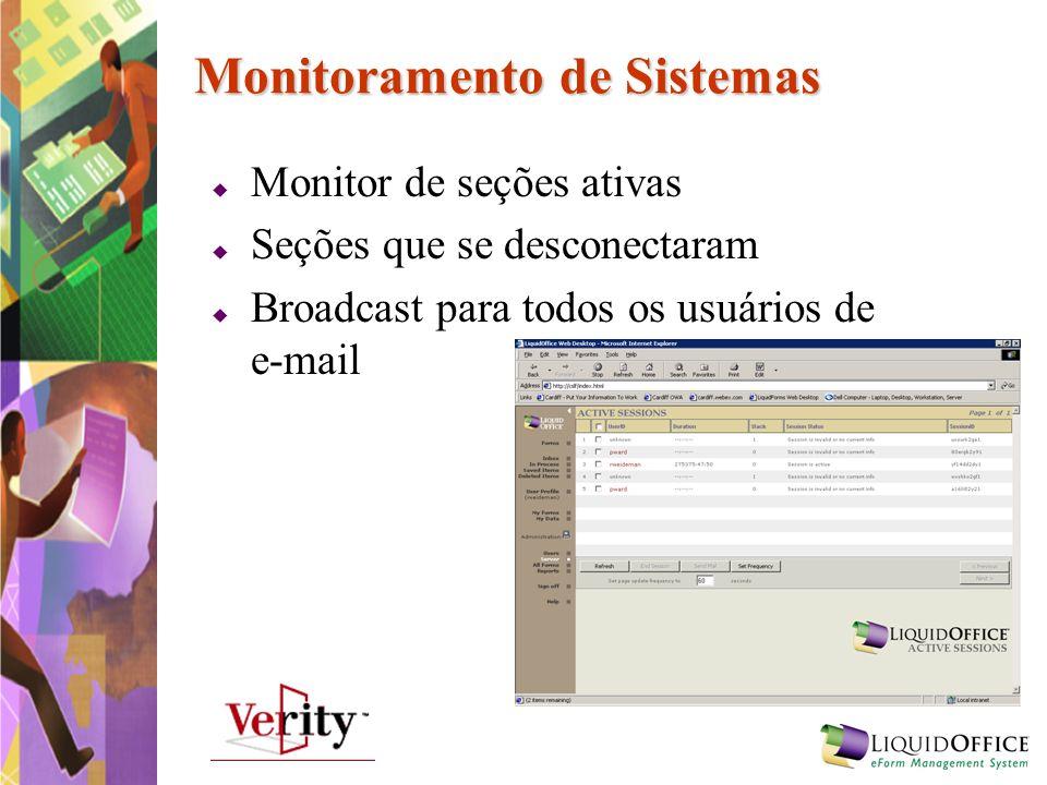 Monitoramento de Sistemas Monitor de seções ativas Seções que se desconectaram Broadcast para todos os usuários de e-mail