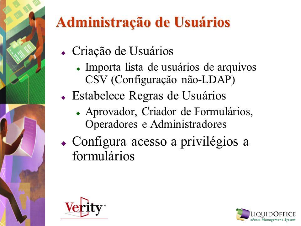 Administração de Usuários Criação de Usuários Importa lista de usuários de arquivos CSV (Configuração não-LDAP) Estabelece Regras de Usuários Aprovado