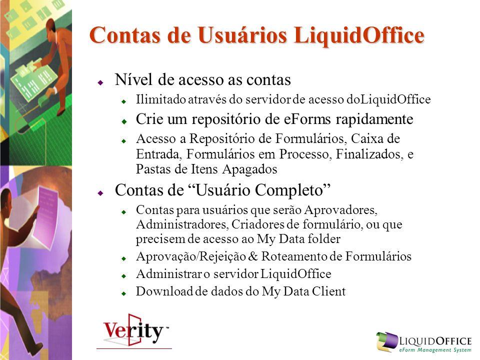 Contas de Usuários LiquidOffice Nível de acesso as contas Ilimitado através do servidor de acesso doLiquidOffice Crie um repositório de eForms rapidam
