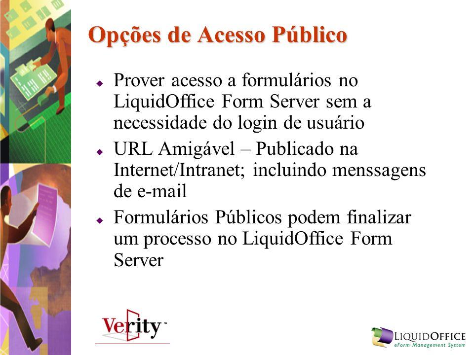 Opções de Acesso Público Prover acesso a formulários no LiquidOffice Form Server sem a necessidade do login de usuário URL Amigável – Publicado na Int