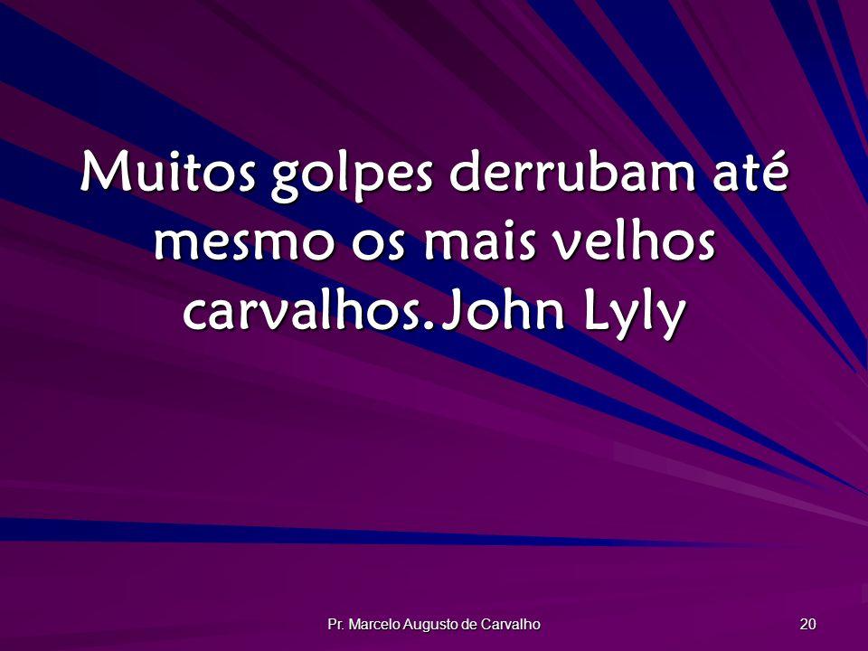Pr. Marcelo Augusto de Carvalho 20 Muitos golpes derrubam até mesmo os mais velhos carvalhos.John Lyly