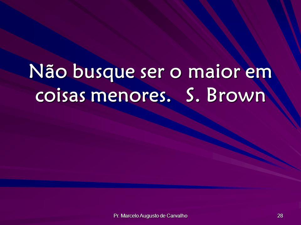 Pr. Marcelo Augusto de Carvalho 28 Não busque ser o maior em coisas menores.S. Brown