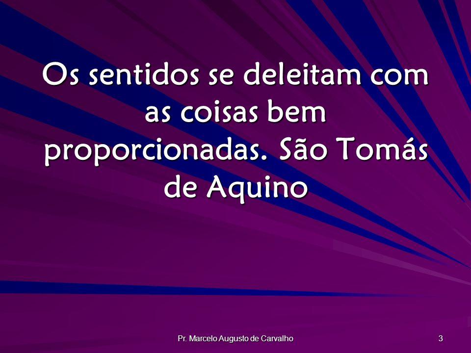 Pr. Marcelo Augusto de Carvalho 3 Os sentidos se deleitam com as coisas bem proporcionadas.São Tomás de Aquino