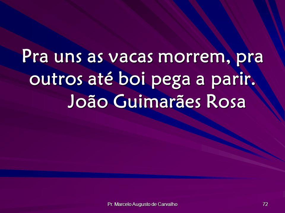 Pr. Marcelo Augusto de Carvalho 72 Pra uns as vacas morrem, pra outros até boi pega a parir. João Guimarães Rosa