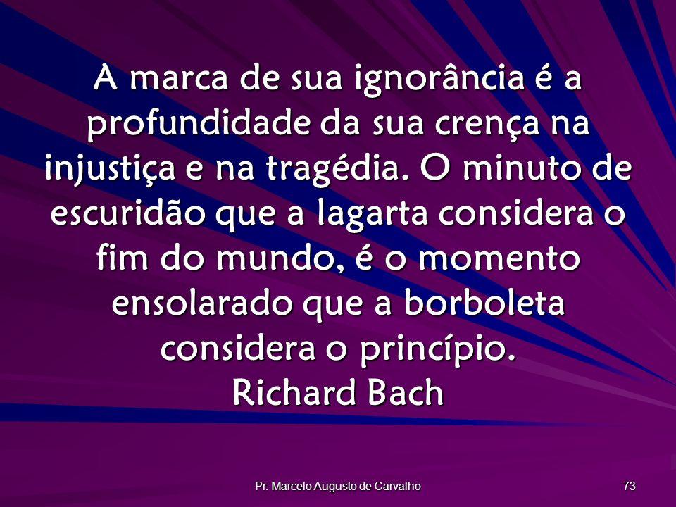 Pr. Marcelo Augusto de Carvalho 73 A marca de sua ignorância é a profundidade da sua crença na injustiça e na tragédia. O minuto de escuridão que a la