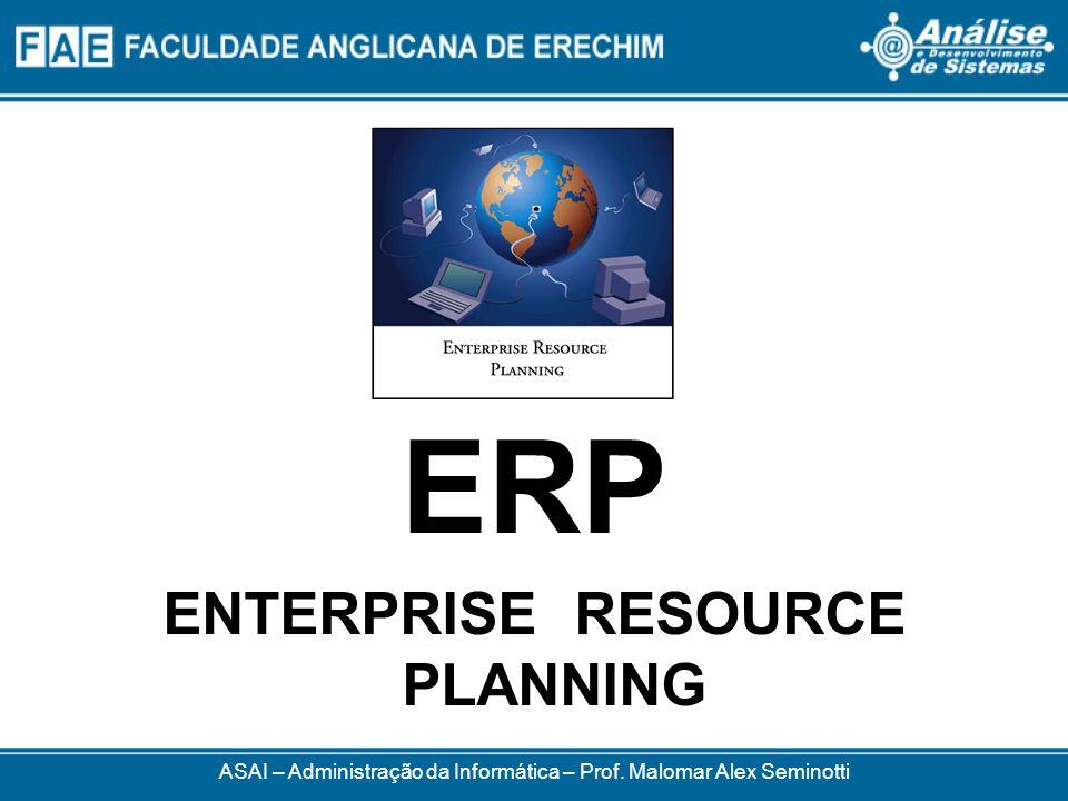 ERP Enterprise Resource Planning ou Planejamento dos Recursos da Empresa É um pacote de software Finalidade: organizar, padronizar e integrar as informações transacionais que circulam pelas organizações É a solução de TI mais utilizada pelas organizações ASAI – Administração da Informática – Prof.