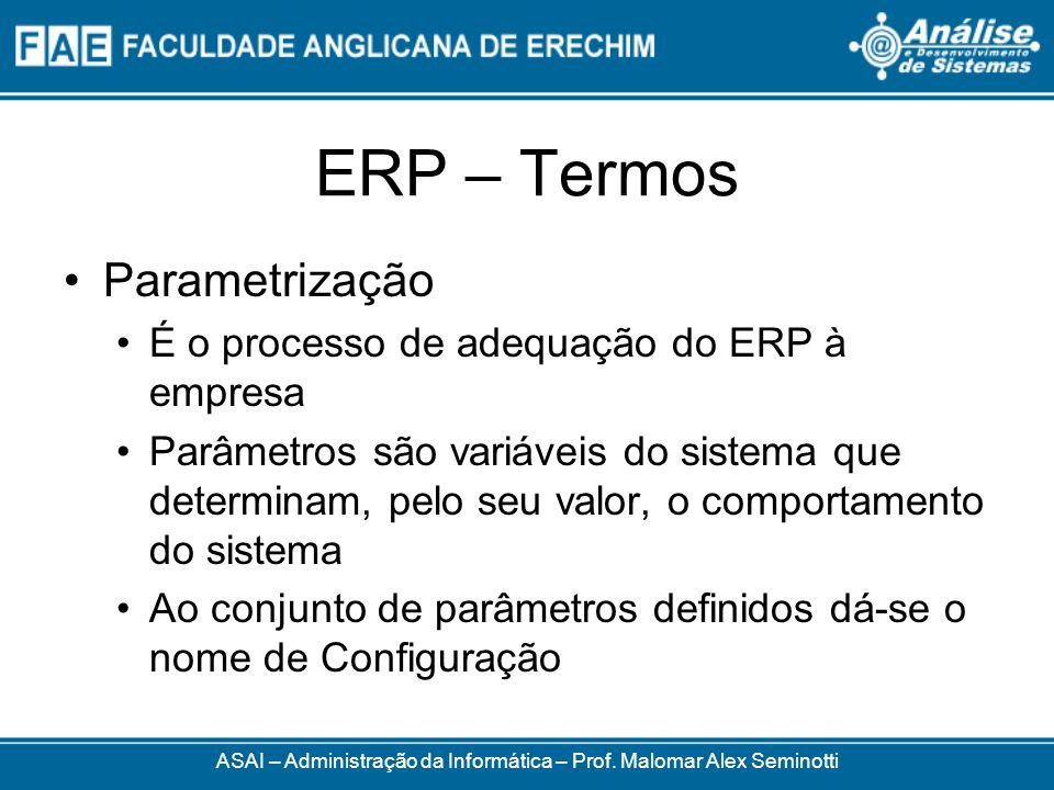 ERP – Termos ASAI – Administração da Informática – Prof. Malomar Alex Seminotti Parametrização É o processo de adequação do ERP à empresa Parâmetros s