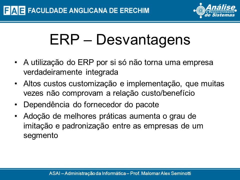 ERP – Desvantagens ASAI – Administração da Informática – Prof. Malomar Alex Seminotti A utilização do ERP por si só não torna uma empresa verdadeirame