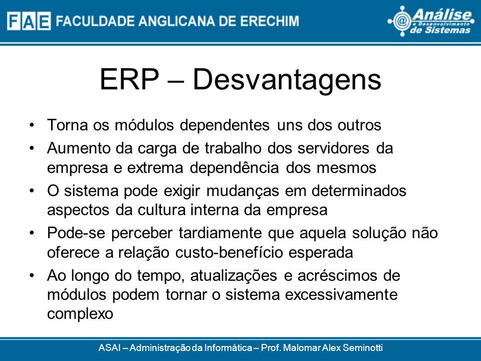 ERP – Desvantagens ASAI – Administração da Informática – Prof. Malomar Alex Seminotti Torna os módulos dependentes uns dos outros Aumento da carga de