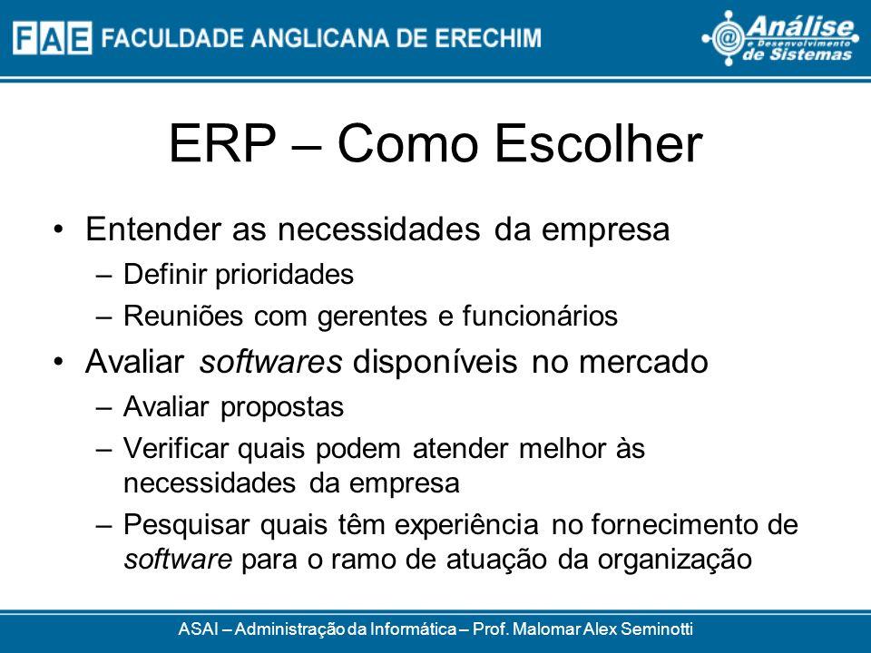 ERP – Como Escolher ASAI – Administração da Informática – Prof. Malomar Alex Seminotti Entender as necessidades da empresa –Definir prioridades –Reuni