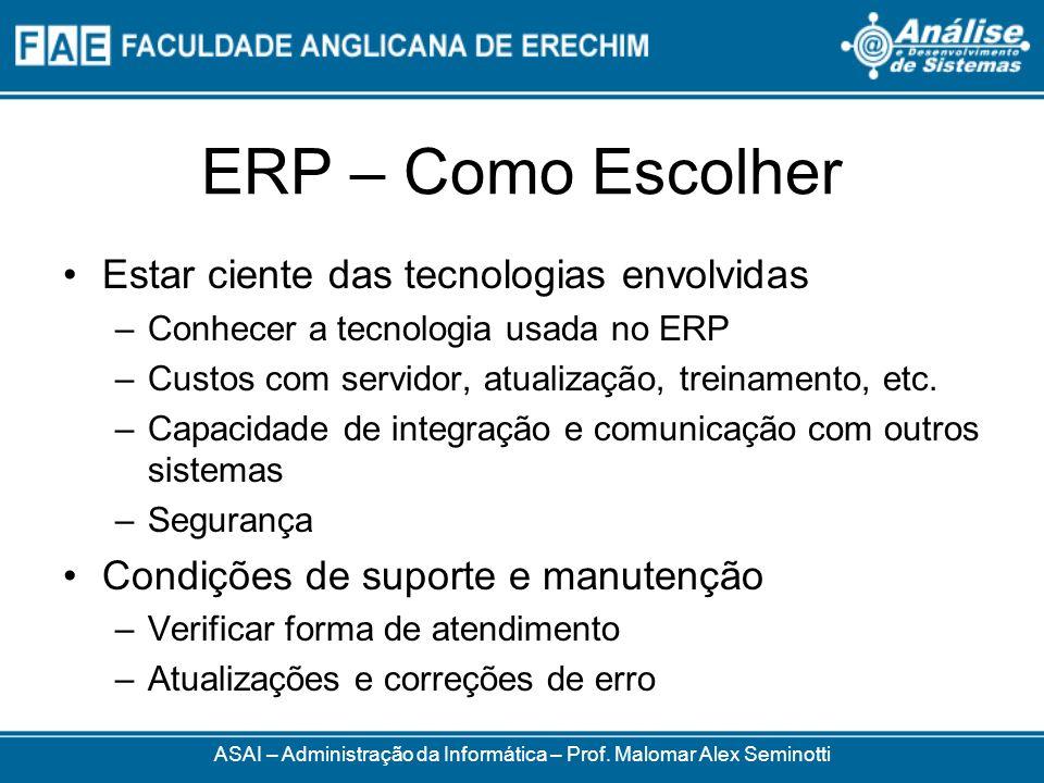 ERP – Como Escolher ASAI – Administração da Informática – Prof. Malomar Alex Seminotti Estar ciente das tecnologias envolvidas –Conhecer a tecnologia