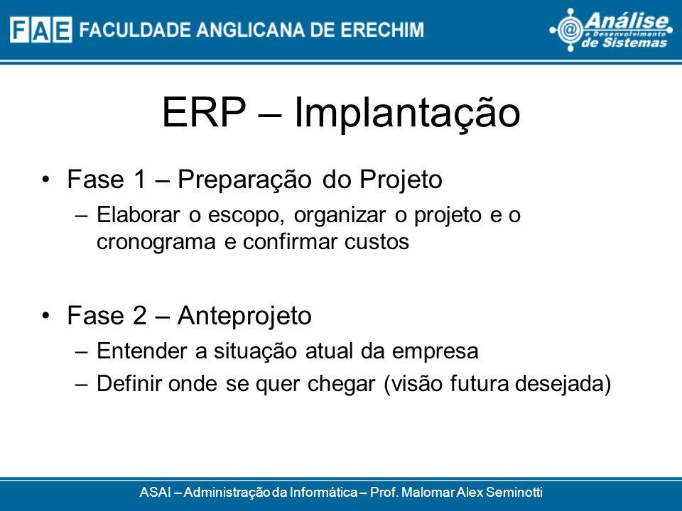 ERP – Implantação ASAI – Administração da Informática – Prof. Malomar Alex Seminotti Fase 1 – Preparação do Projeto –Elaborar o escopo, organizar o pr