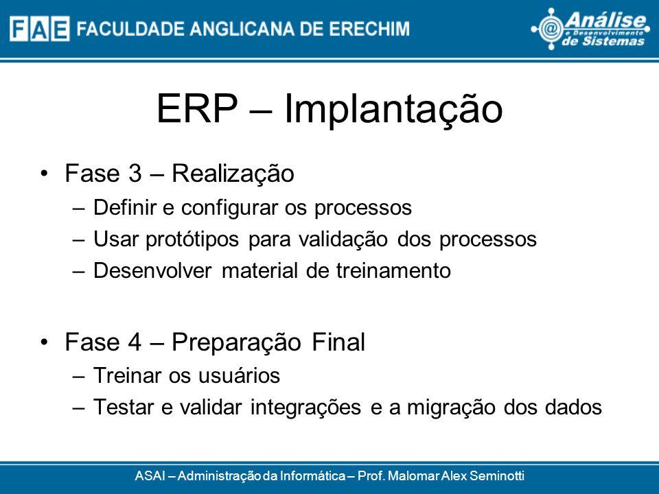 ERP – Implantação ASAI – Administração da Informática – Prof. Malomar Alex Seminotti Fase 3 – Realização –Definir e configurar os processos –Usar prot