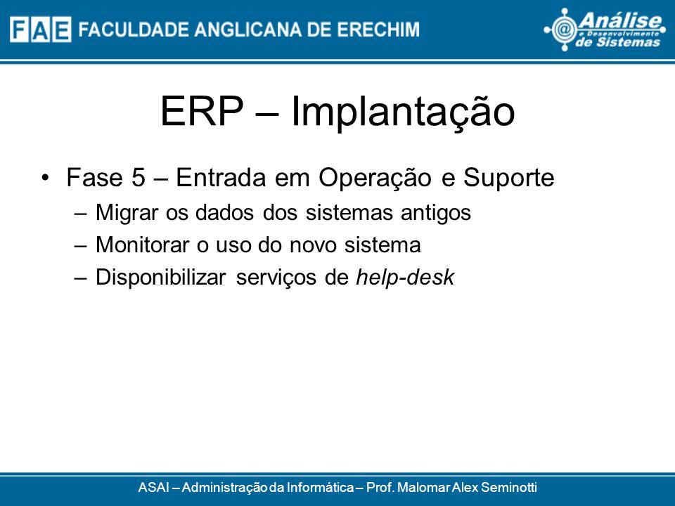 ERP – Implantação ASAI – Administração da Informática – Prof. Malomar Alex Seminotti Fase 5 – Entrada em Operação e Suporte –Migrar os dados dos siste