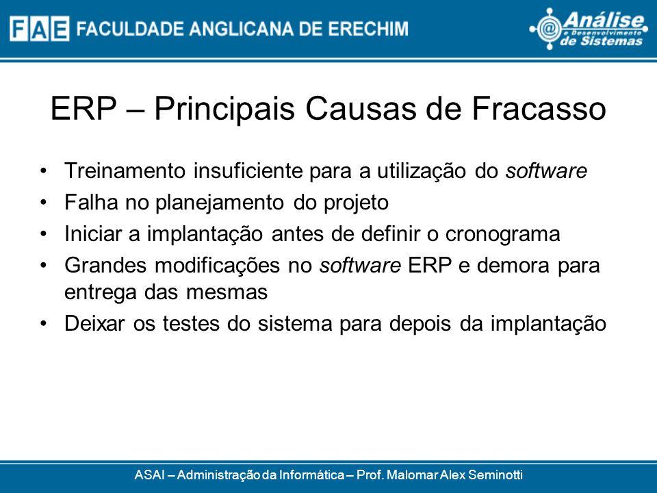 ERP – Principais Causas de Fracasso ASAI – Administração da Informática – Prof. Malomar Alex Seminotti Treinamento insuficiente para a utilização do s