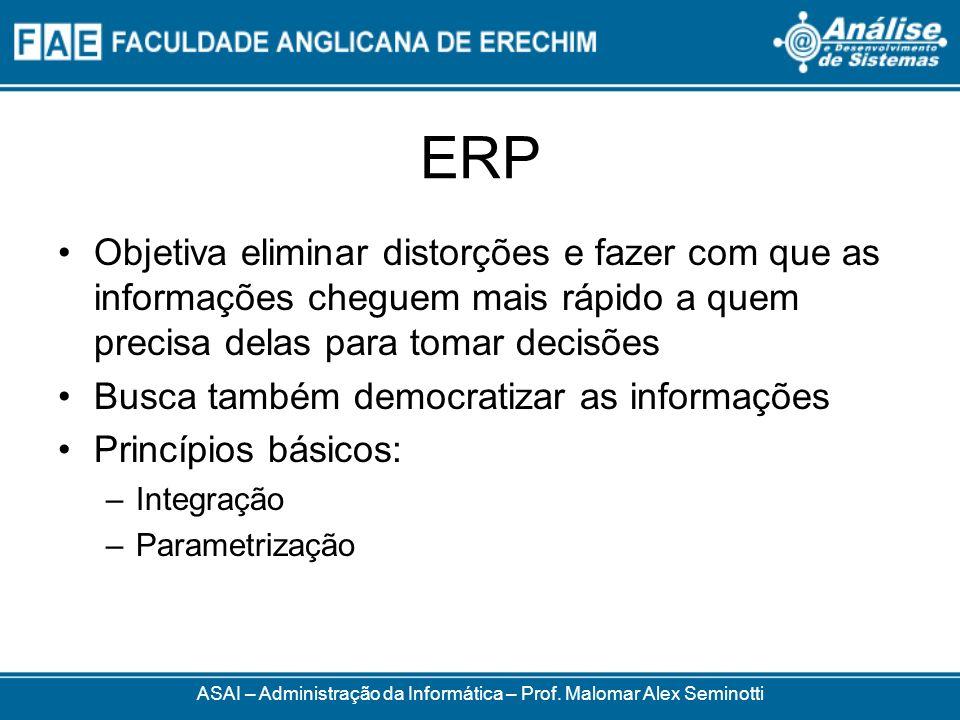 ERP Objetiva eliminar distorções e fazer com que as informações cheguem mais rápido a quem precisa delas para tomar decisões Busca também democratizar