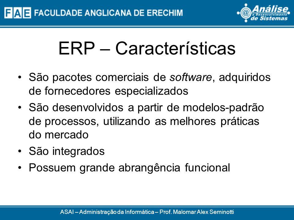 ERP – Características São parametrizáveis e configuráveis Utilizam uma base de dados integrada, ou seja, sem redundâncias, gerenciada por um sistema gerenciador de banco de dados (SGBD) Atende às diversas áreas de negócio da empresa, tratando a sequência natural de eventos de cada processo de negócio ASAI – Administração da Informática – Prof.