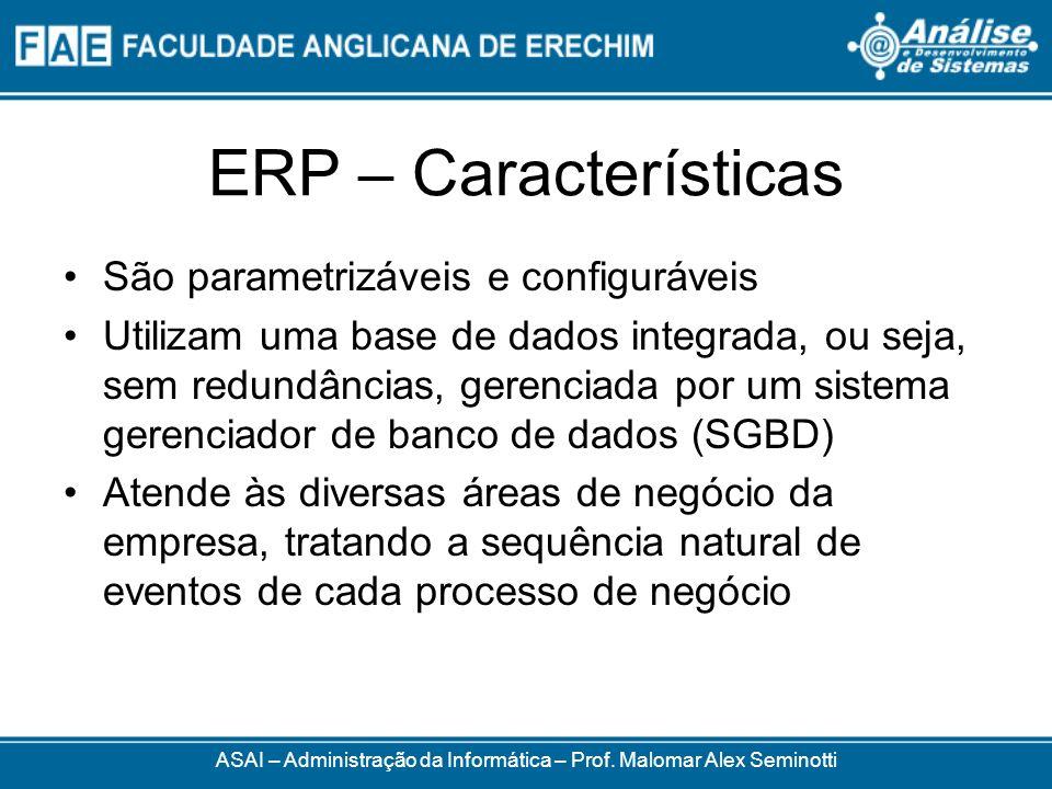 ERP – Características Normalmente as empresas precisam adequar seus processos às funcionalidades dos pacotes É comum a necessidade de procedimentos de ajuste do ERP São utilizados em substituição aos sistemas já existentes ASAI – Administração da Informática – Prof.