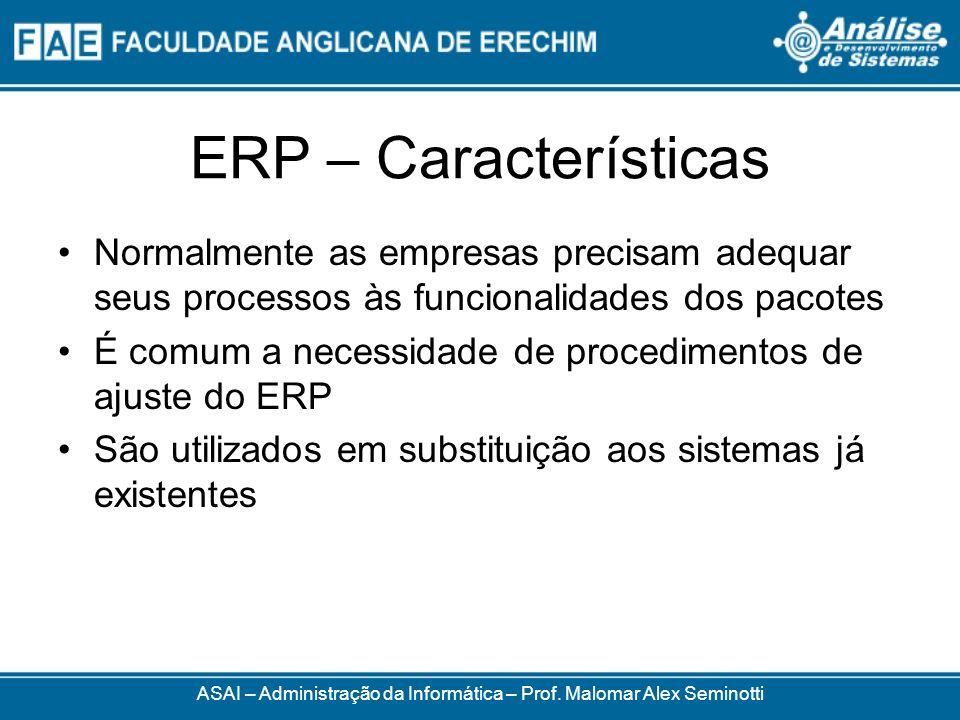 ERP – Características Normalmente as empresas precisam adequar seus processos às funcionalidades dos pacotes É comum a necessidade de procedimentos de