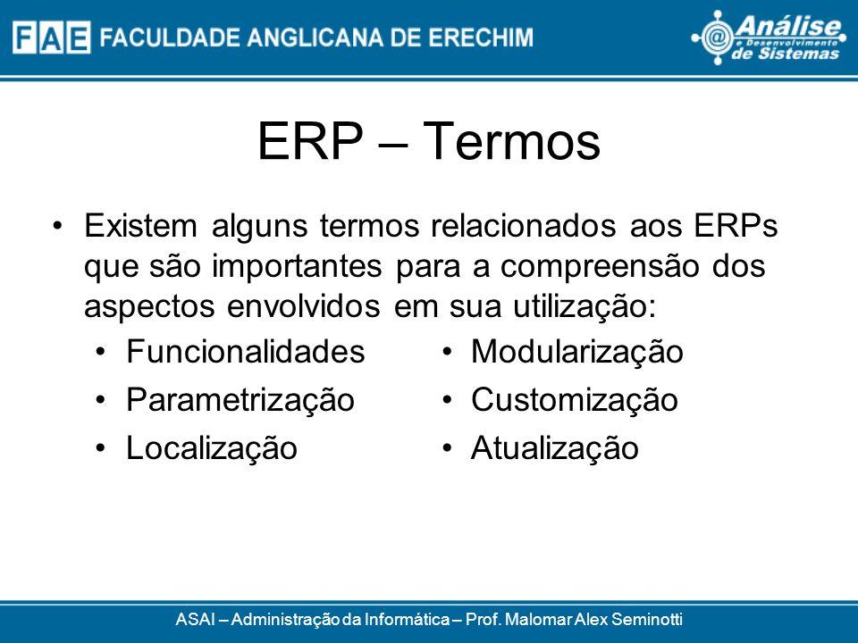 ERP – Termos ASAI – Administração da Informática – Prof. Malomar Alex Seminotti Existem alguns termos relacionados aos ERPs que são importantes para a
