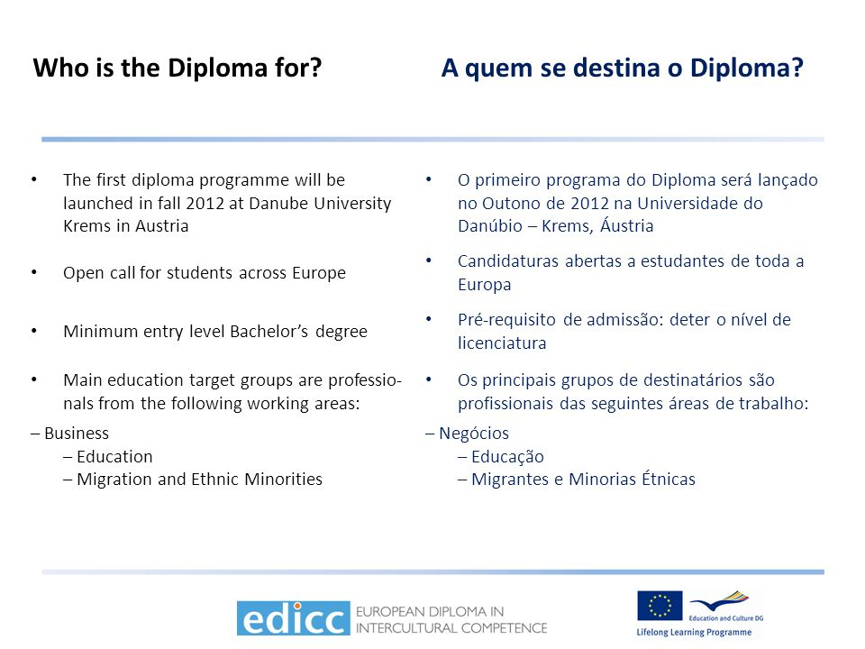 Who is the Diploma for?A quem se destina o Diploma.