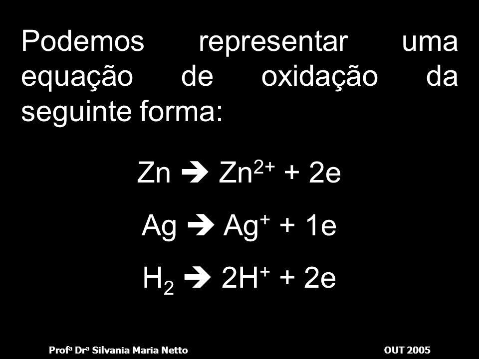Prof a Dr a Silvania Maria NettoOUT 2005 Oxidação Perda de elétrons Aumento do número de oxidação