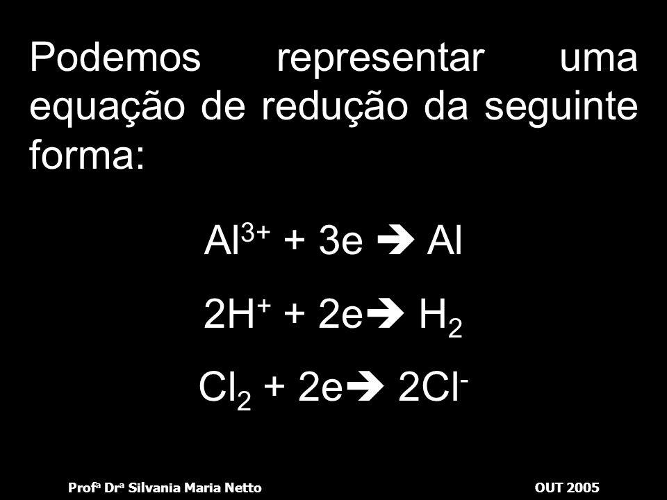 Prof a Dr a Silvania Maria NettoOUT 2005 Redução Ganho de elétrons Diminuição do número de oxidação