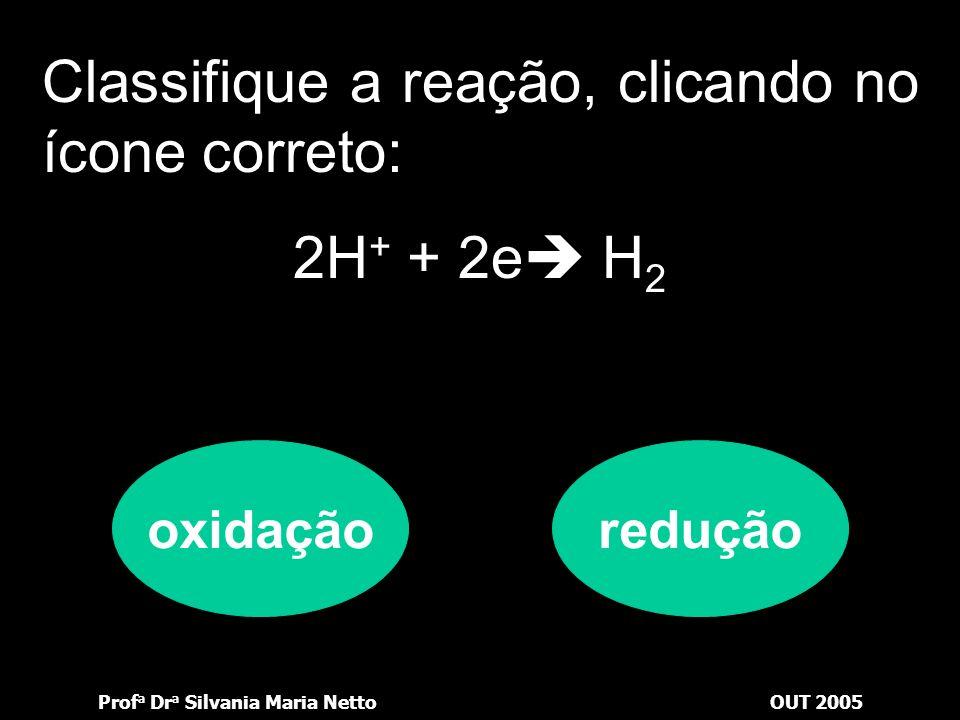 Prof a Dr a Silvania Maria NettoOUT 2005 Vejamos se você está por dentro: Classifique a reação, clicando no ícone correto: Mg Mg 2+ + 2e oxidaçãoreduç