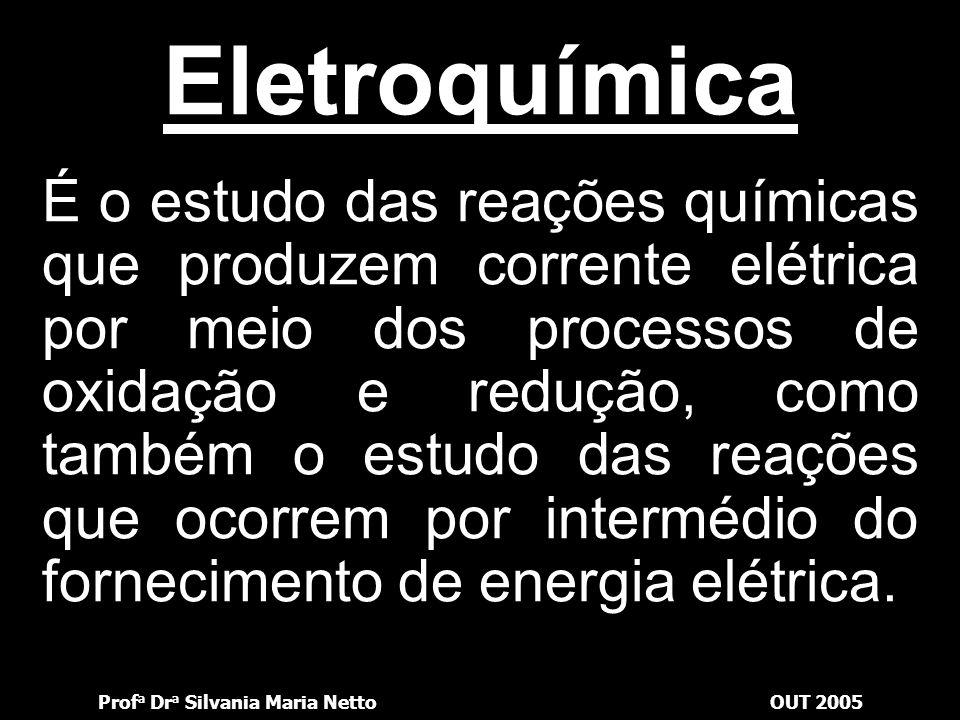 Prof a Dr a Silvania Maria NettoOUT 2005 A maior ou menor capacidade de fornecer elétrons é dada por uma medida chamada potencial de oxidação, com a qual podemos estabelecer a seguinte relação: Quanto maior a capacidade de fornecer elétrons, maior o potencial de oxidação e, conseqüentemente, mais forte é o redutor e mais facilmente ele se oxida.