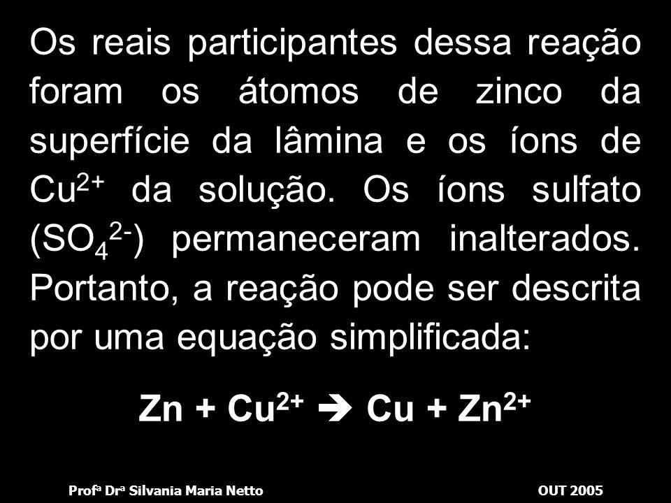 Prof a Dr a Silvania Maria NettoOUT 2005 O exame dos fatos observados nos leva a concluir que houve uma reação de oxidação-redução na superfície da lâ