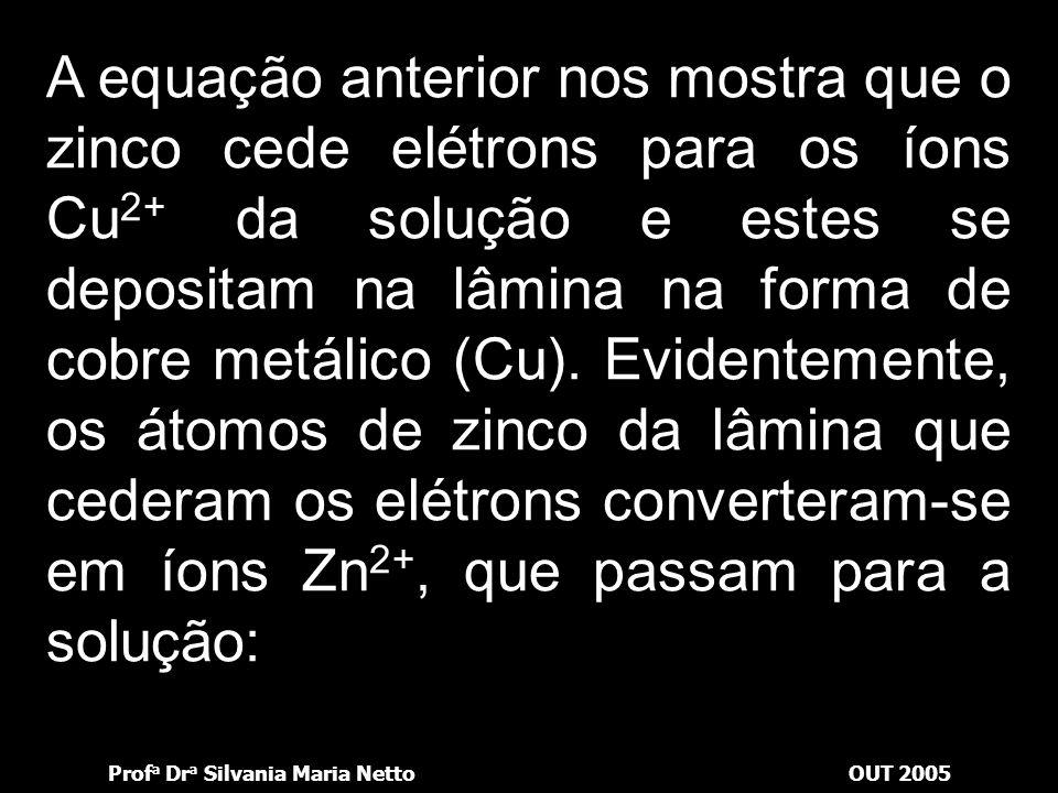 Prof a Dr a Silvania Maria NettoOUT 2005 Os reais participantes dessa reação foram os átomos de zinco da superfície da lâmina e os íons de Cu 2+ da so