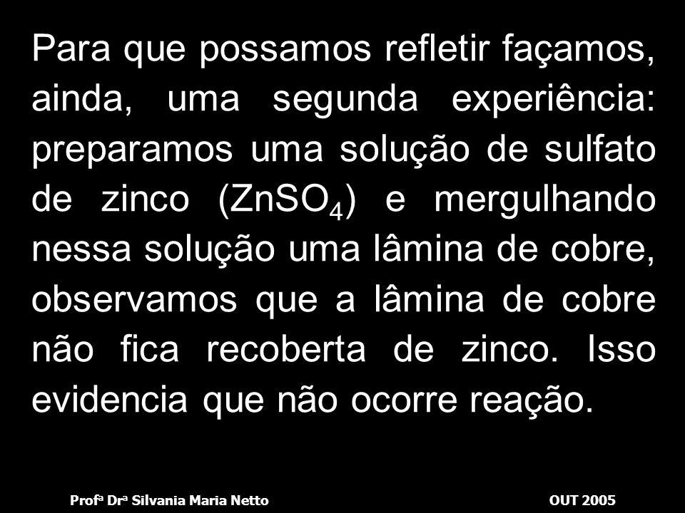 Prof a Dr a Silvania Maria NettoOUT 2005 Dessa forma podemos concluir o seguinte: Zn é o redutor ou agente redutor. Cu 2+ é o oxidante ou agente oxida