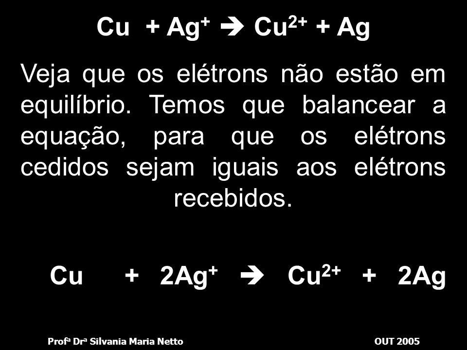 Prof a Dr a Silvania Maria NettoOUT 2005 Para que possamos refletir façamos, ainda, uma quarta experiência: preparamos uma solução de sulfato de prata