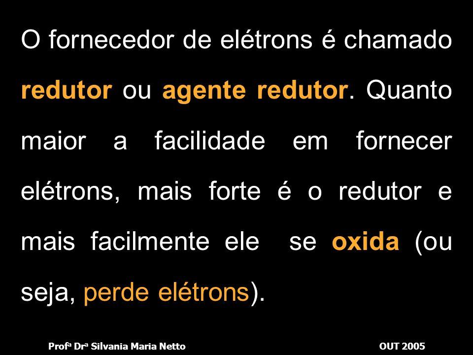 Prof a Dr a Silvania Maria NettoOUT 2005 Nas experiências que descrevemos, observamos que: Al cede elétrons ao Zn 2+ ; Zn cede elétrons ao Cu 2+ ; Cu