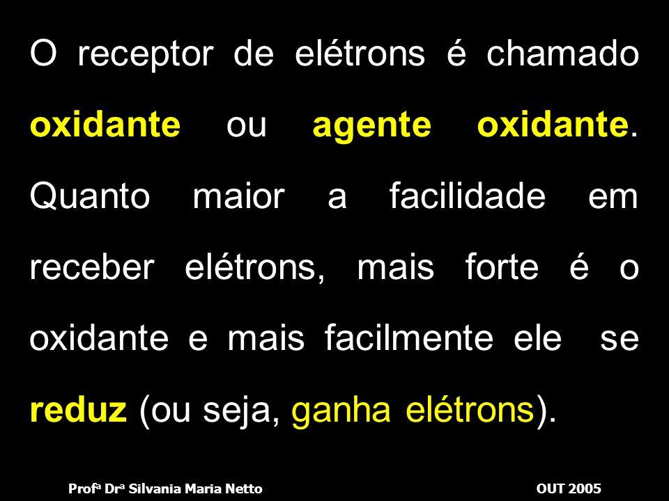 Prof a Dr a Silvania Maria NettoOUT 2005 O fornecedor de elétrons é chamado redutor ou agente redutor. Quanto maior a facilidade em fornecer elétrons,