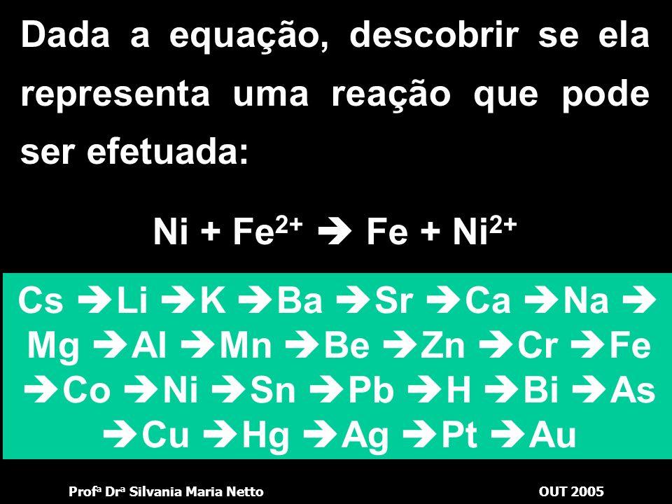 Prof a Dr a Silvania Maria NettoOUT 2005 Cs Li K Ba Sr Ca Na Mg Al Mn Be Zn Cr Fe Co Ni Sn Pb H Bi As Cu Hg Ag Pt Au Zn + Fe 2+ Fe + Zn 2+ Dessa forma