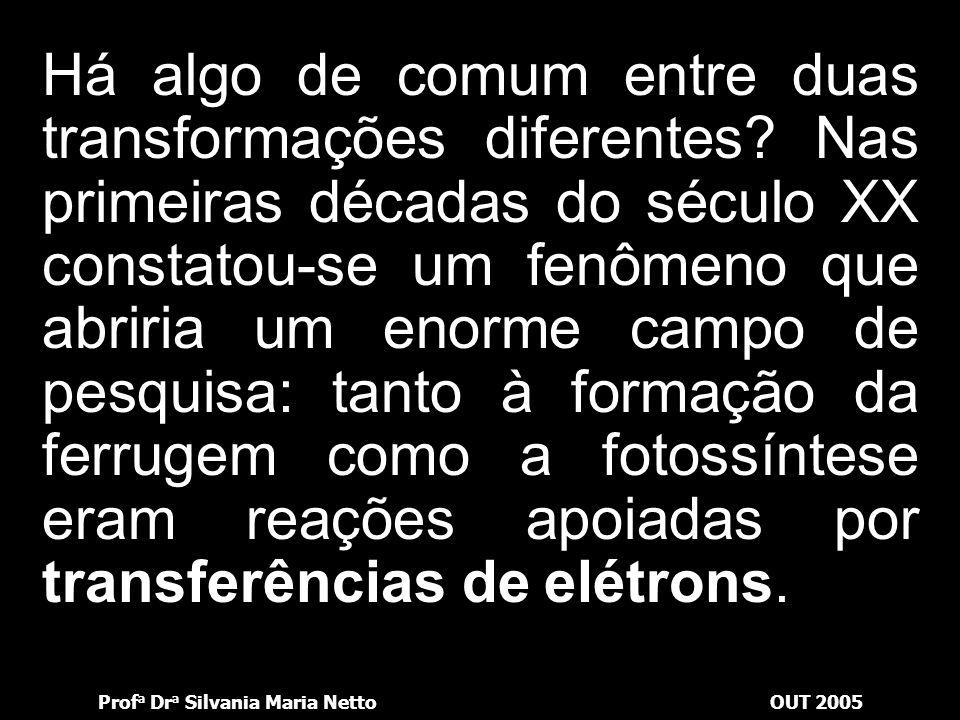 Prof a Dr a Silvania Maria NettoOUT 2005 Cu + 2Ag + 2Ag + Cu 2+ lâminaSolução Deposita-se na lâmina Passa para a solução Elétrons