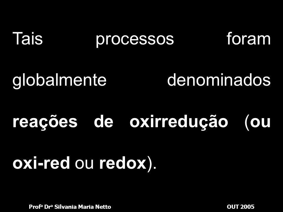 Prof a Dr a Silvania Maria NettoOUT 2005 Tais processos foram globalmente denominados reações de oxirredução (ou oxi-red ou redox).