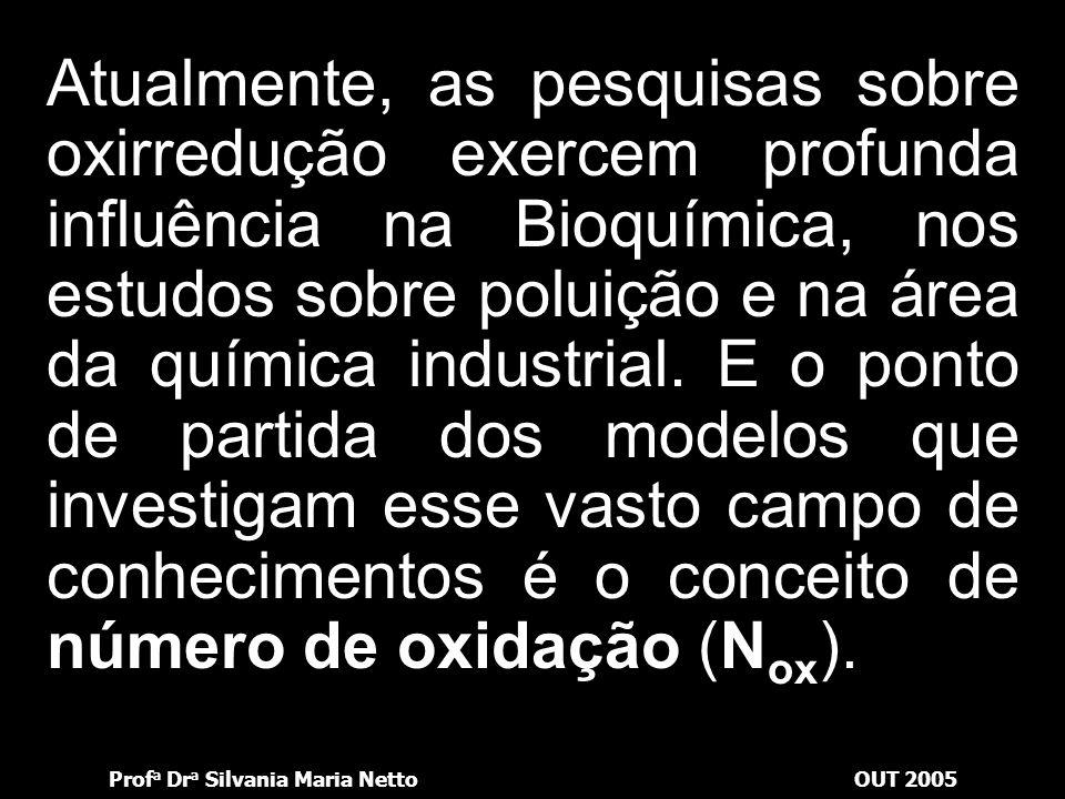Prof a Dr a Silvania Maria NettoOUT 2005 Atualmente, as pesquisas sobre oxirredução exercem profunda influência na Bioquímica, nos estudos sobre poluição e na área da química industrial.