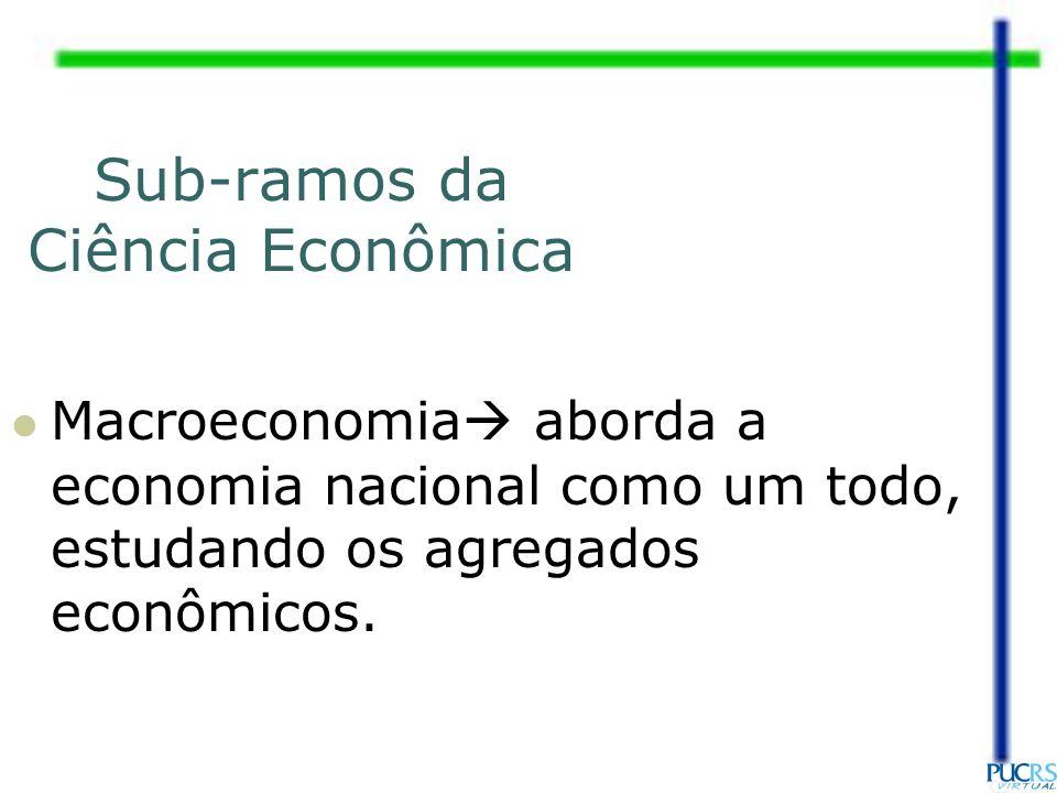 Sub-ramos da Ciência Econômica Macroeconomia aborda a economia nacional como um todo, estudando os agregados econômicos.