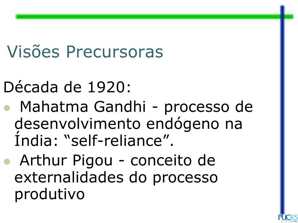 Visões Precursoras Década de 1920: Mahatma Gandhi - processo de desenvolvimento endógeno na Índia: self-reliance. Arthur Pigou - conceito de externali