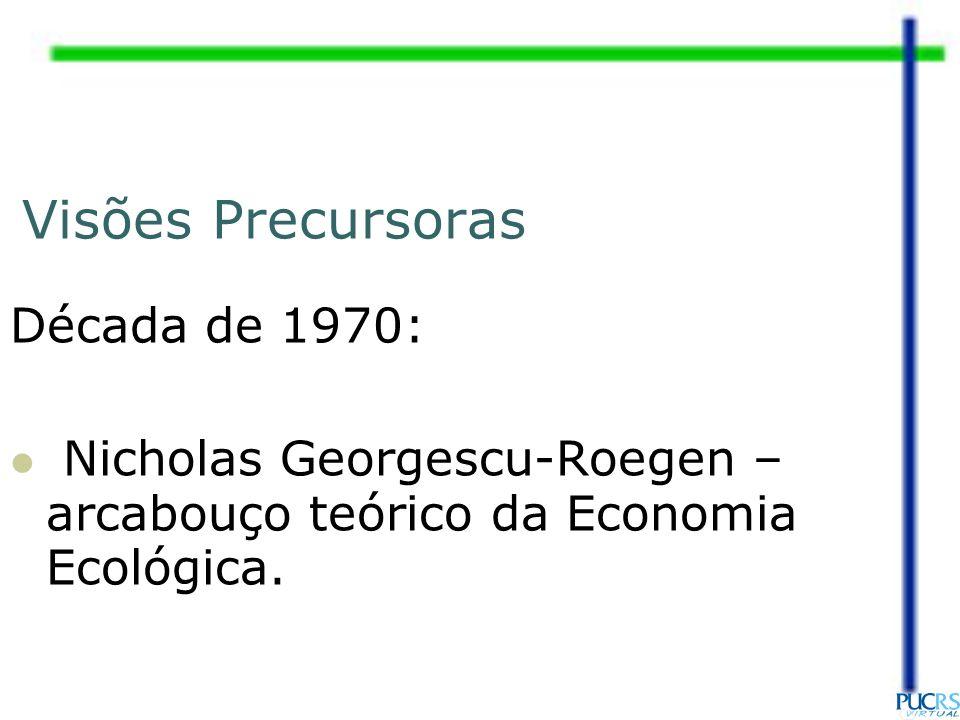 Visões Precursoras Década de 1970: Nicholas Georgescu-Roegen – arcabouço teórico da Economia Ecológica.