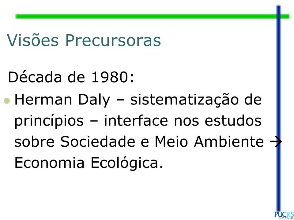 Visões Precursoras Década de 1980: Herman Daly – sistematização de princípios – interface nos estudos sobre Sociedade e Meio Ambiente Economia Ecológi