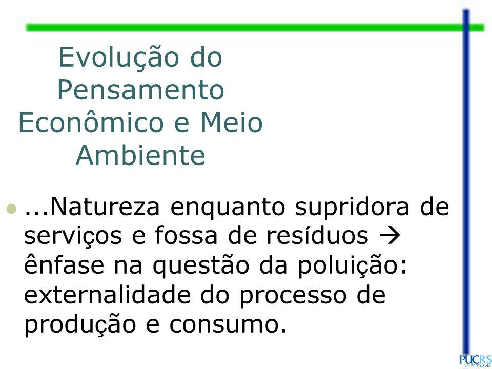 ...Natureza enquanto supridora de servi ç os e fossa de res í duos ênfase na questão da polui ç ão: externalidade do processo de produ ç ão e consumo.