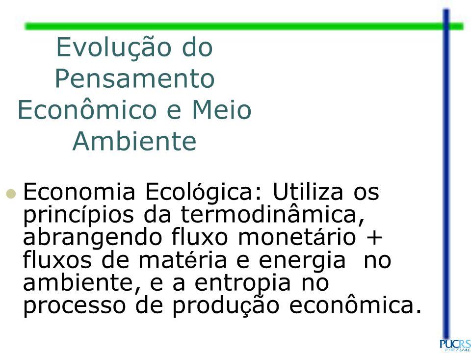 Evolução do Pensamento Econômico e Meio Ambiente Economia Ecol ó gica: Utiliza os princ í pios da termodinâmica, abrangendo fluxo monet á rio + fluxos